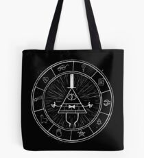 Gravity Falls Bill Cipher - White on Black Tote Bag