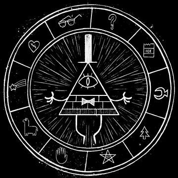 Gravity Falls Bill Cipher - White on Black by TumblrVerse