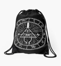 Gravity Falls Bill Cipher - White on Black Drawstring Bag