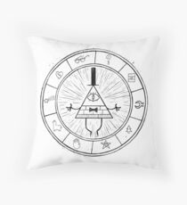 Gravity Falls Bill Cipher - Black on White Throw Pillow