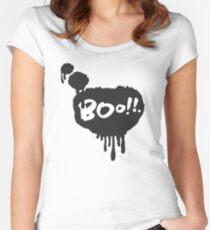 Boo in Flowing Speech Bubble Women's Fitted Scoop T-Shirt