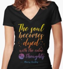 Marcus Aurelius Stoicism Quote - Color of thoughts Women's Fitted V-Neck T-Shirt