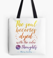 Marcus Aurelius Stoicism Quote - Color of thoughts Tote Bag