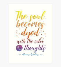 Marcus Aurelius Stoicism Quote - Color of thoughts Art Print