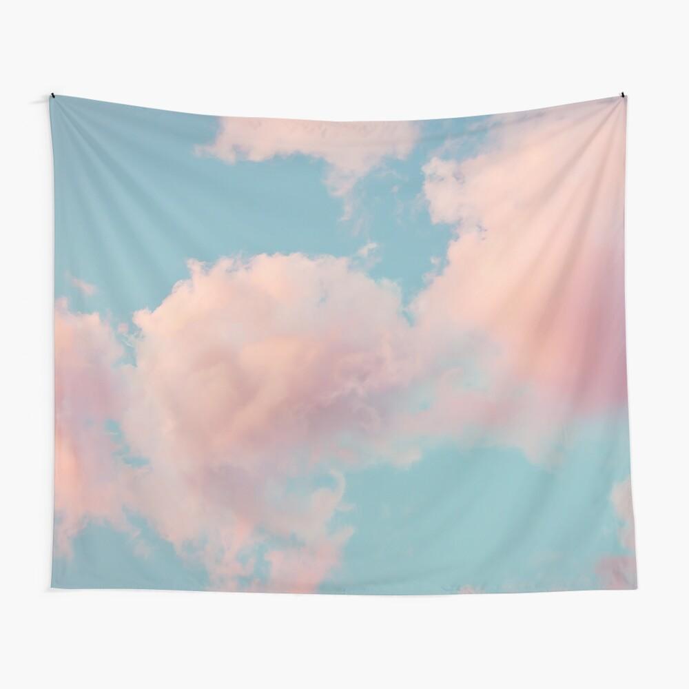 Rosa Wolken Wandbehang