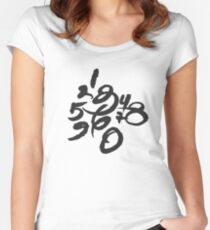 Calligraphy Numbers Women's Fitted Scoop T-Shirt