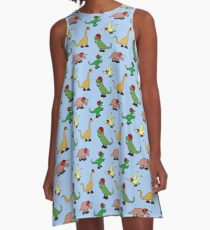 Roller Derby Dinosaurs Pattern A-Line Dress
