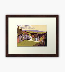 Gold Hill - Original linocut by Francesca Whetnall Framed Print