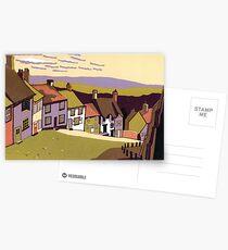 Gold Hill - Original linocut by Francesca Whetnall Postcards