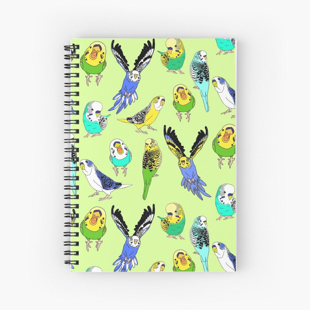 budgie doodle pattern Spiral Notebook