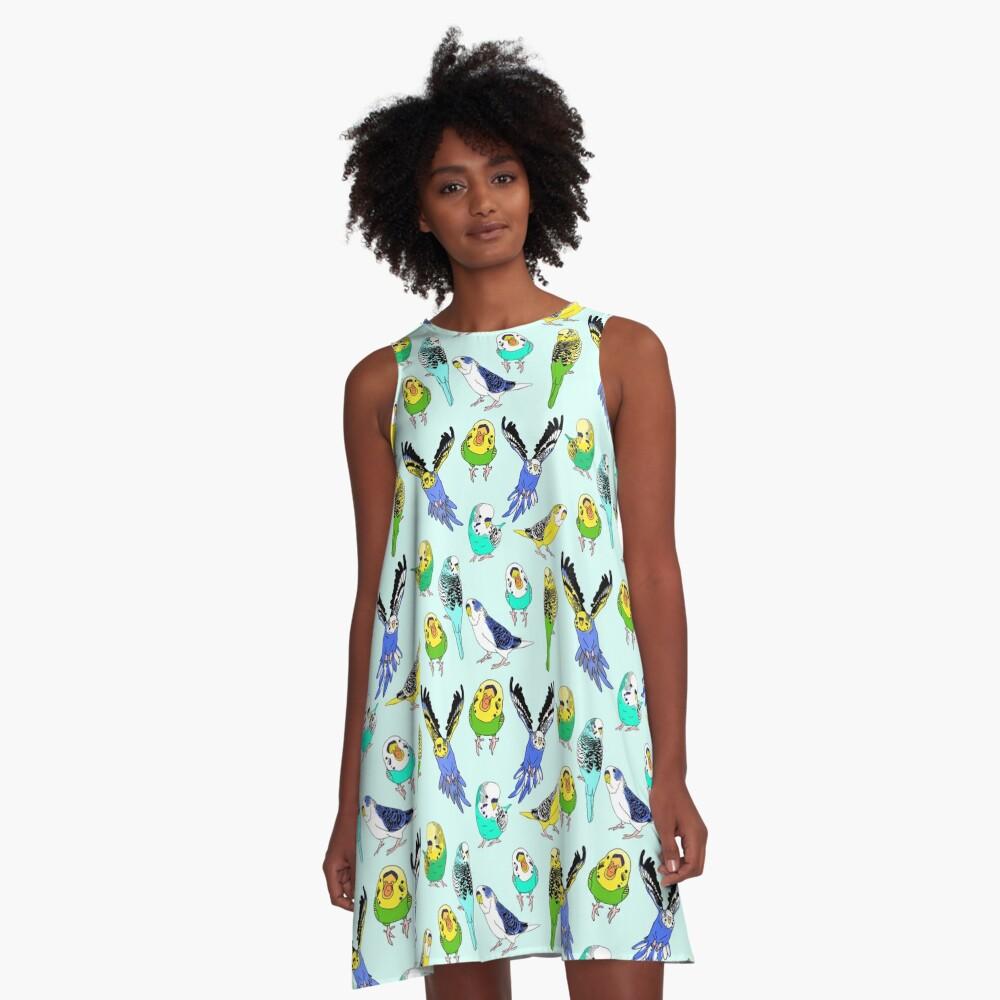 budgie doodle pattern A-Line Dress