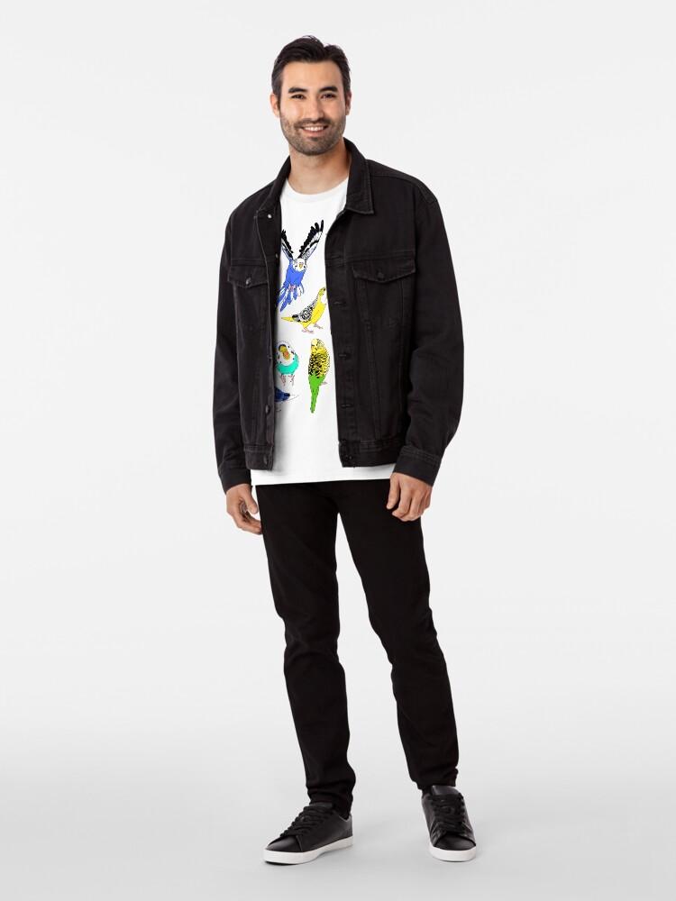 Alternate view of budgie doodle pattern Premium T-Shirt
