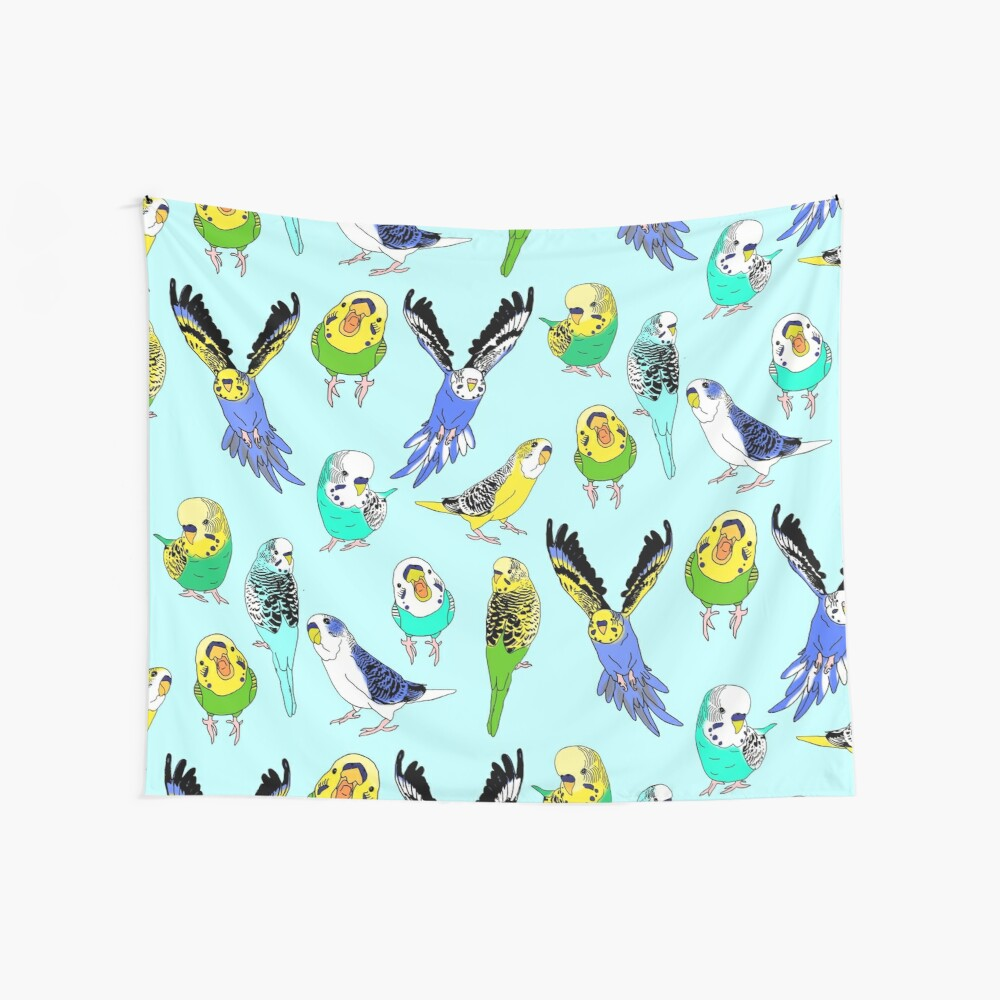 budgie doodle pattern Wall Tapestry