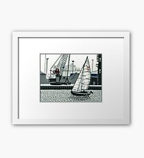 Poole Quay - Original linocut by Francesca Whetnall Framed Print