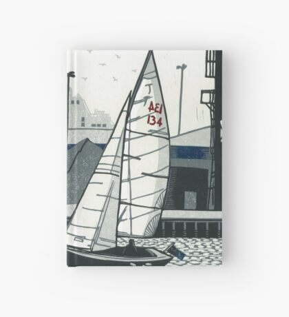 Poole Quay - Original linocut by Francesca Whetnall Hardcover Journal