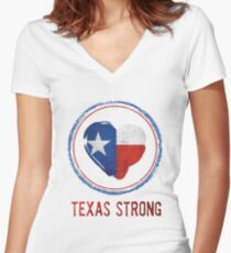 Texas Strong Texas Flag in Heart Women's Fitted V-Neck T-Shirt