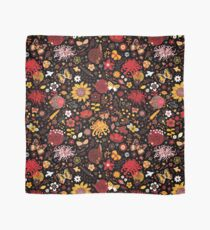 Japanese Garden - Red, Gold and Rust on Black - exotic floral pattern by Cecca Designs Scarf
