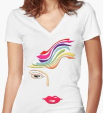 Women - Rainbow  Women's Fitted V-Neck T-Shirt