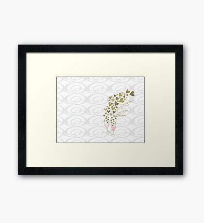 Pink Wedding Champagne Cheers Framed Print