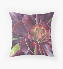 Purple Aeonium succulent at Bodnant Gardens - Aquamarkers. Throw Pillow