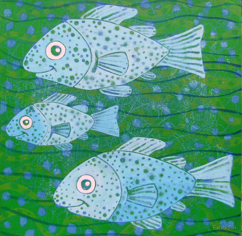 """"""" SWIMMING TOGETHER 3 FISH """" by Exhibition"""