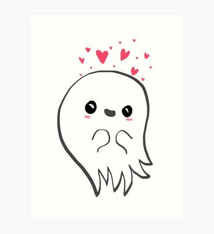 Cute ghost in love Art Print