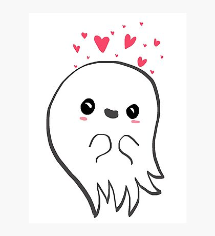 Cute ghost in love Photographic Print
