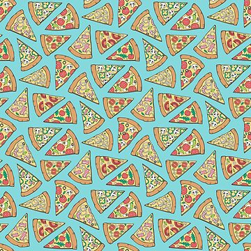 Pizza Fast Junk Food on Blue by CajaDesign