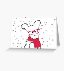Puppy with red scarf and glasses Greeting Card