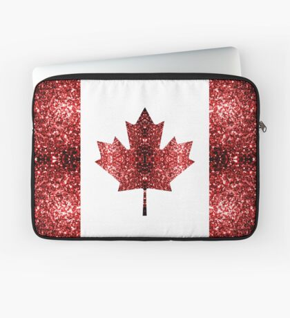Canada flag red sparkles Laptop Sleeve