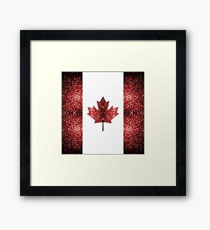 Canada flag red sparkles Framed Print