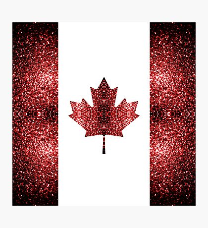 Canada flag red sparkles Photographic Print