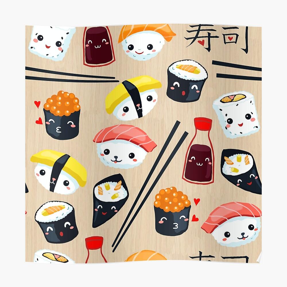 Kawaii Sushi Poster