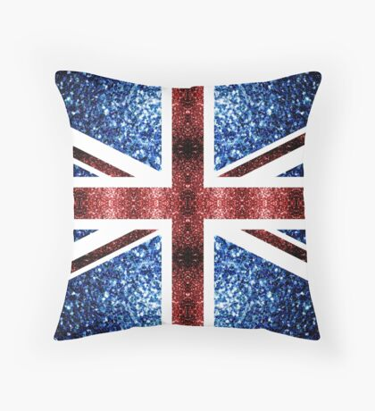 United Kingdom UK flag blue and red sparkles Throw Pillow