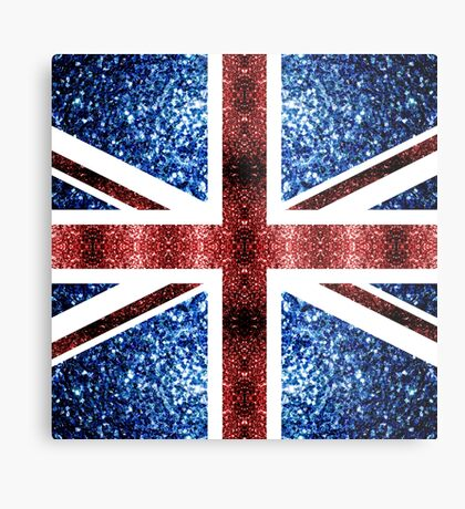 United Kingdom UK flag blue and red sparkles Metal Print