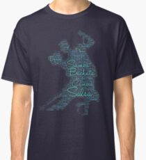 Latin Dance Word Art Print 3 Blue Green Classic T-Shirt