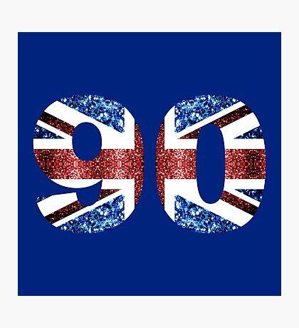 Sparkly flag of United Kingdom UK number 90 Photographic Print