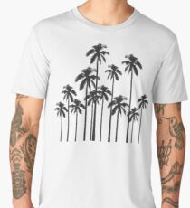 Black and White Exotic Tropical Palm Trees Men's Premium T-Shirt