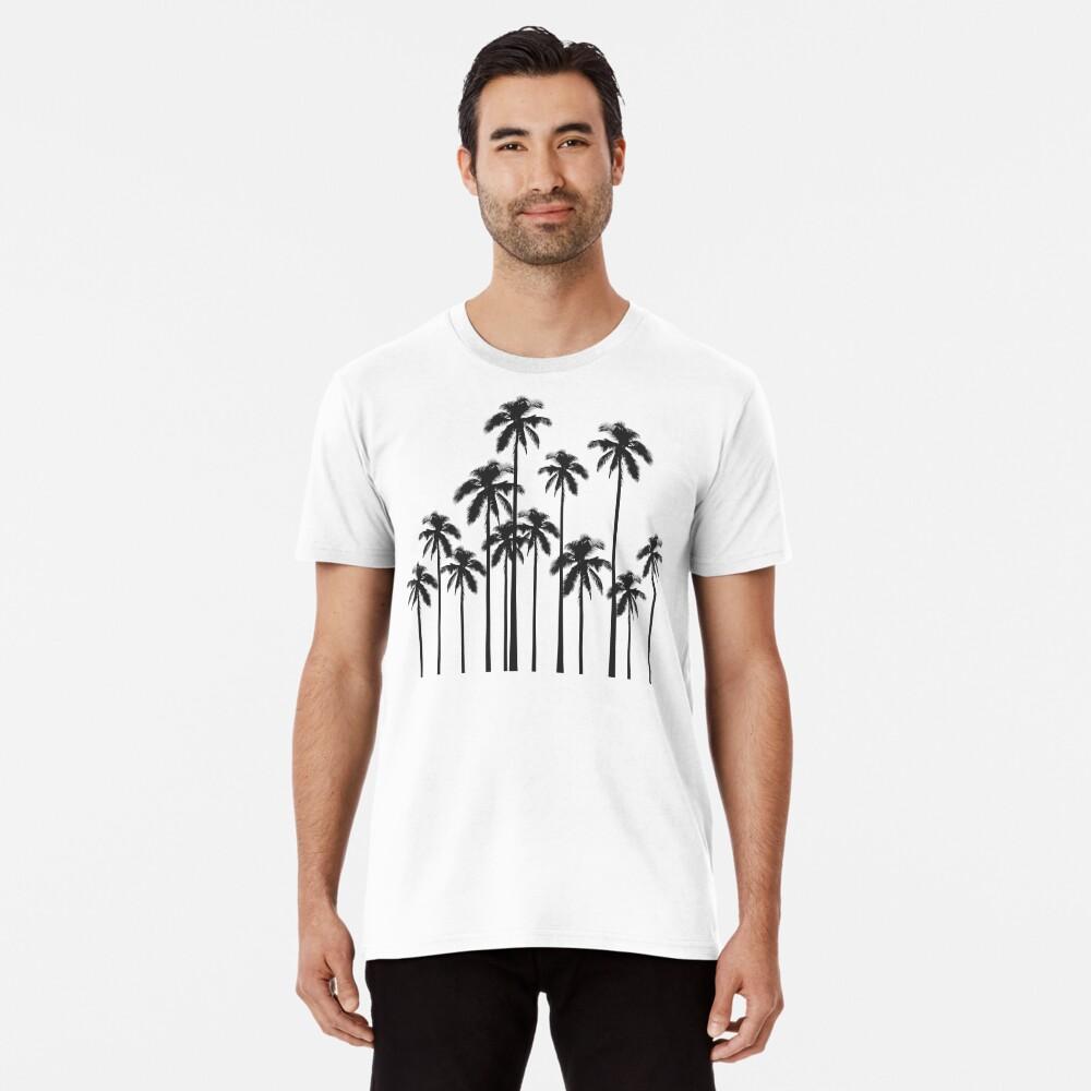 Black and White Exotic Tropical Palm Trees Premium T-Shirt