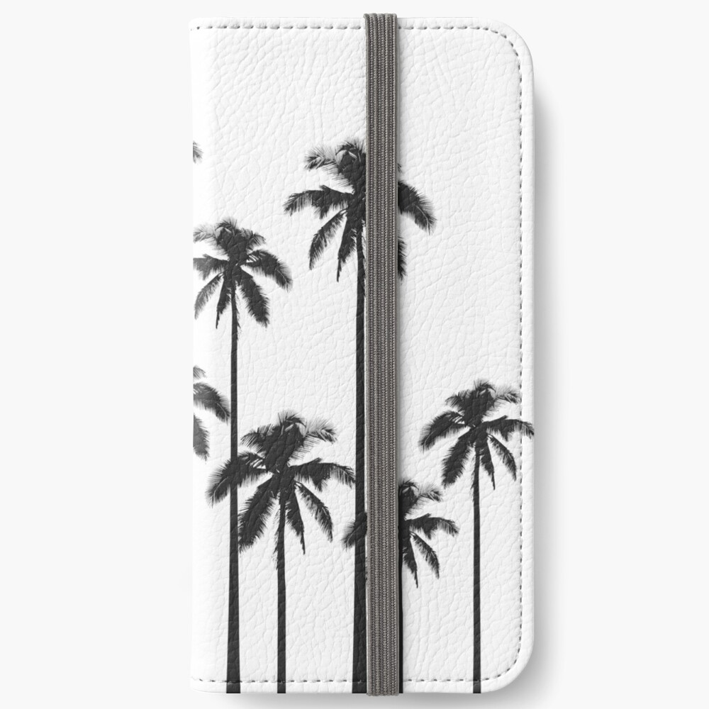 Black and White Exotic Tropical Palm Trees iPhone Wallet