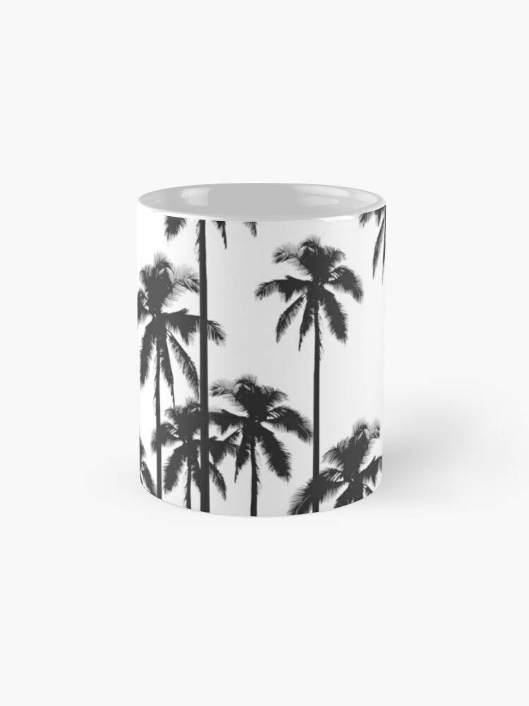Alternate view of Black and White Exotic Tropical Palm Trees Mug