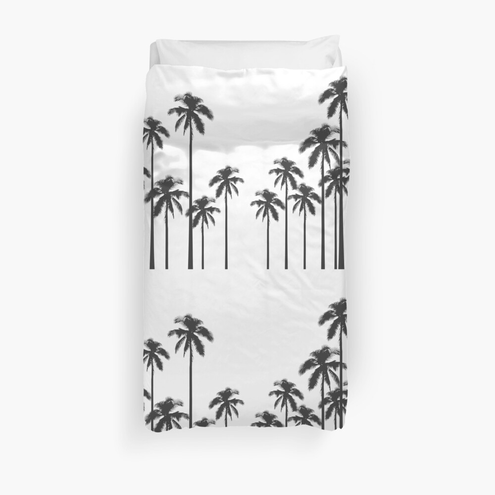 Black and White Exotic Tropical Palm Trees Duvet Cover