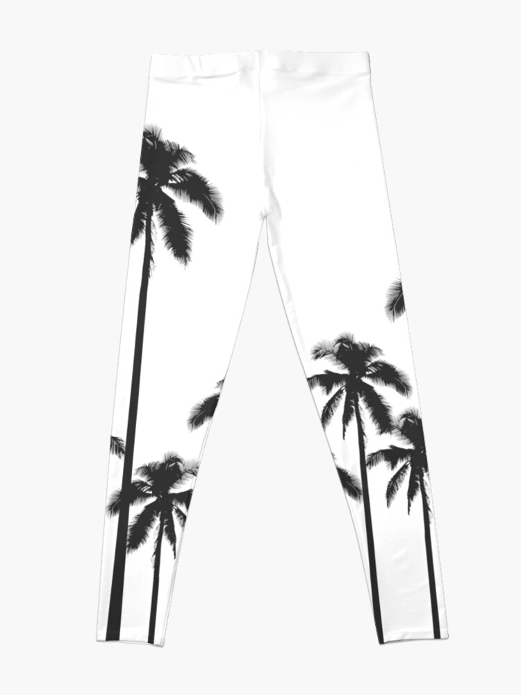 Alternate view of Black and White Exotic Tropical Palm Trees Leggings