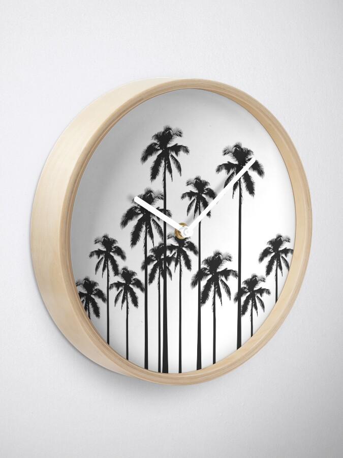 Alternative Ansicht von Exotische tropische Schwarzweiss-Palmen Uhr