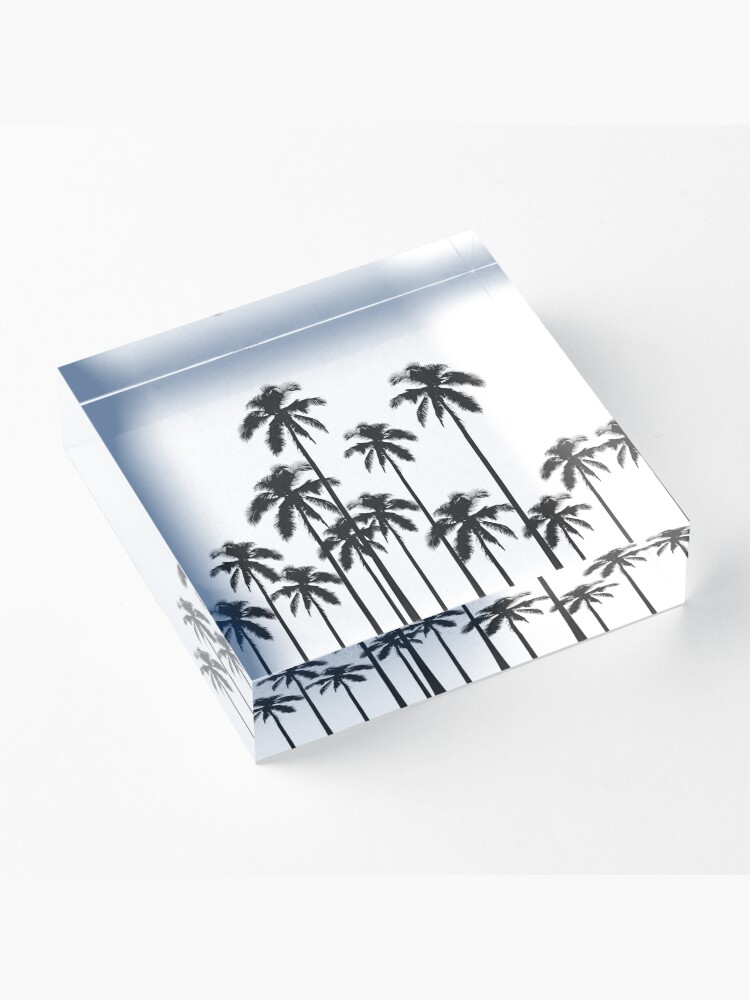 Alternate view of Black and White Exotic Tropical Palm Trees Acrylic Block