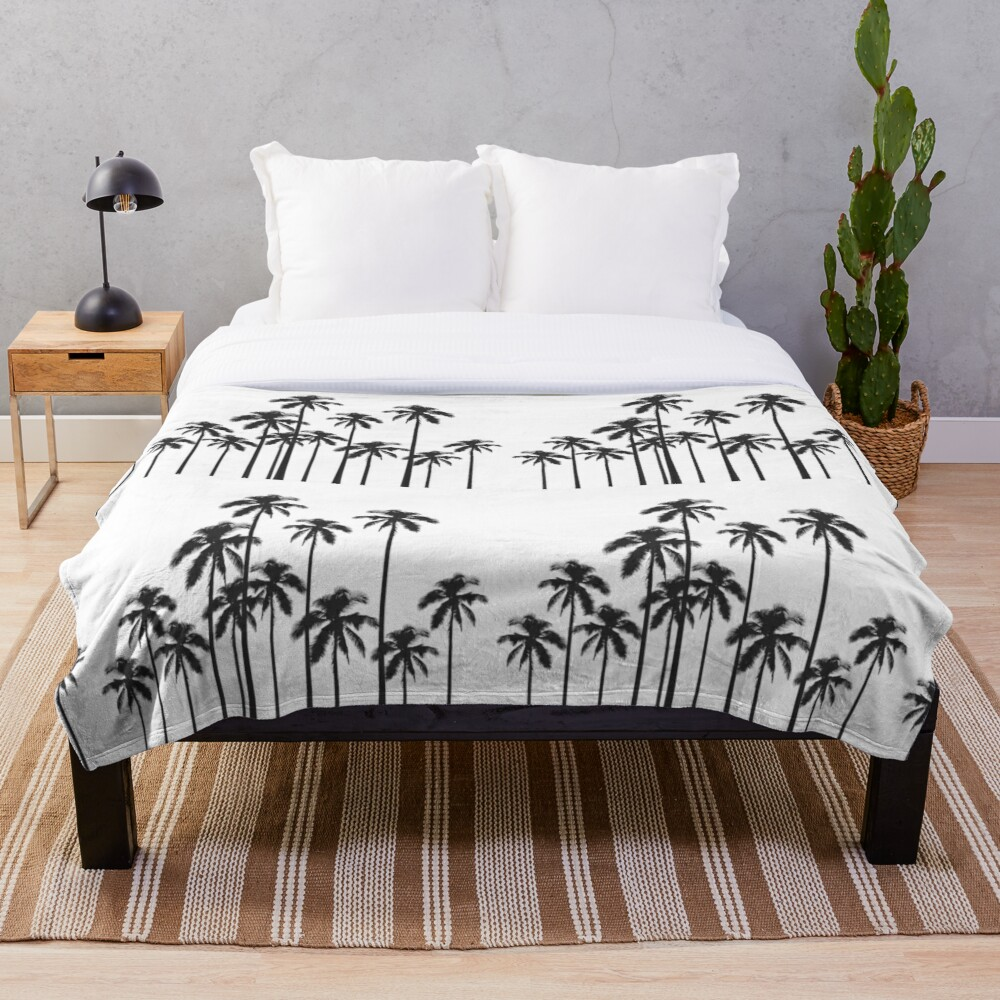Black and White Exotic Tropical Palm Trees Throw Blanket