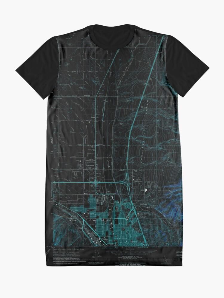 Alternative Ansicht von USGS TOPO Map Idaho ID Pocatello North 237673 1971 24000 Inverted T-Shirt Kleid