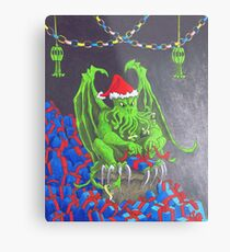 Great Cthulhu Hates Christmas - The Wrap Party Metal Print