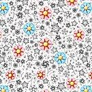 Millefiori Monotone Floral by PatriciaSheaArt