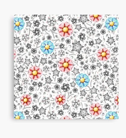 Millefiori Monotone Floral Canvas Print